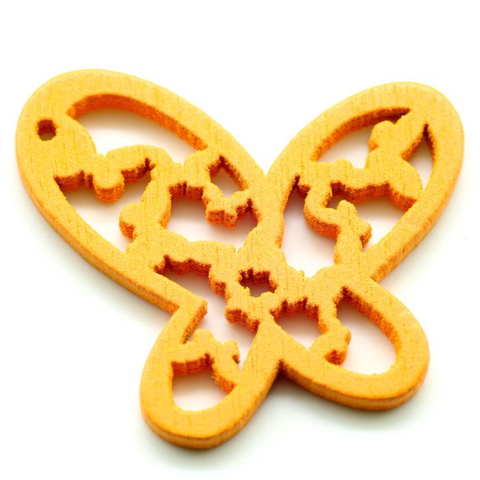 Украшение декоративное деревянное Бабочка ажурная 26мм х 25мм (Оранжевый)