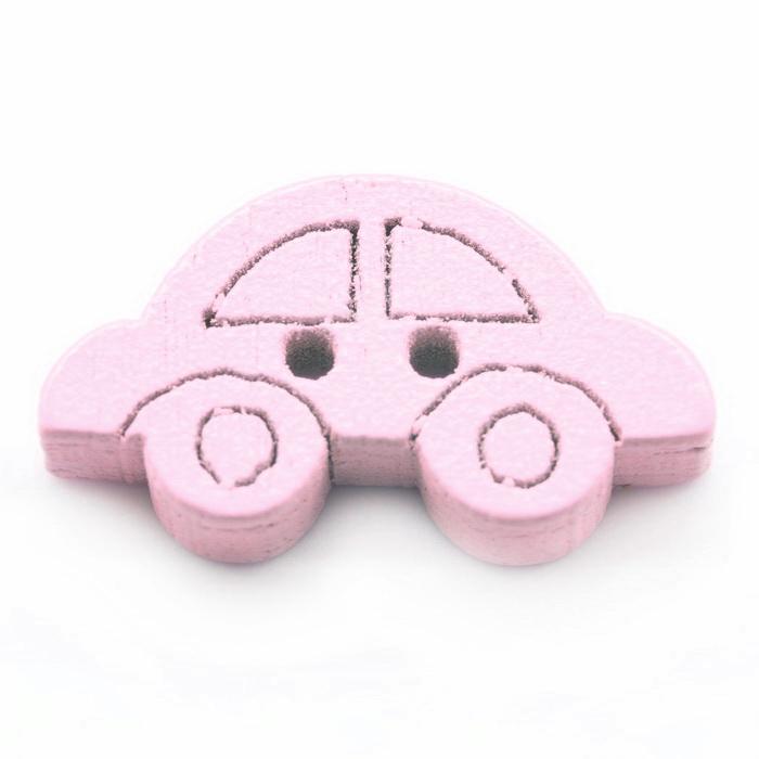 Украшение деревянное Машинка (Розовый)