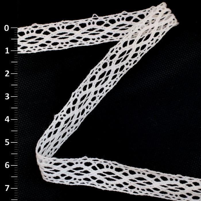 Кружево хлопковое 7357 Белый (1см) (182м)