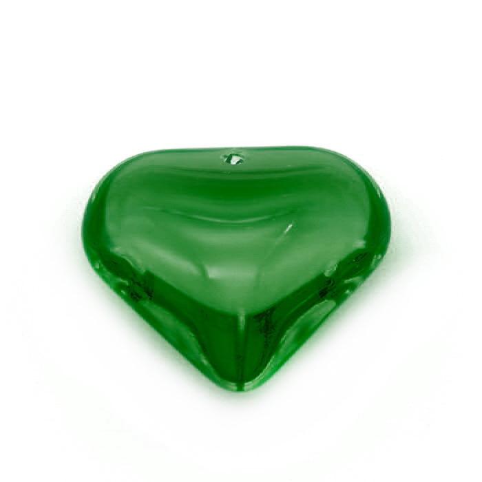 Бусины стеклянные декоративные 04568 Сердце цв.Зелёный (2,0х2,0см)