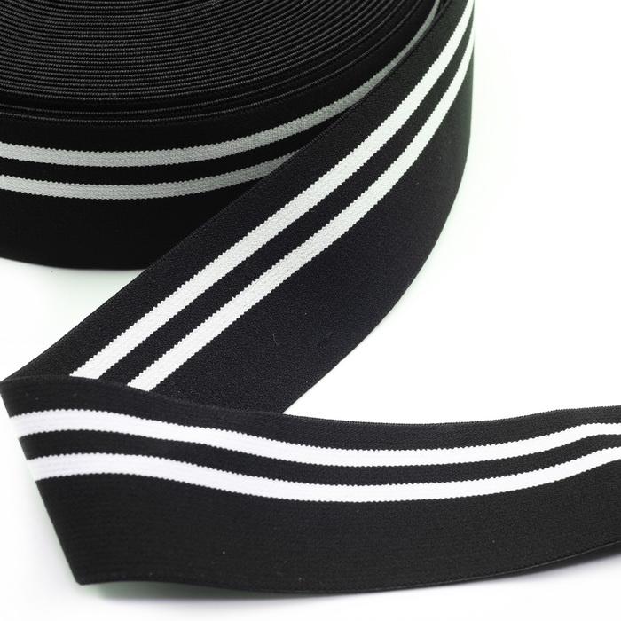 Лента эластичная декоративная 1227 Чёрный 5см (50м)