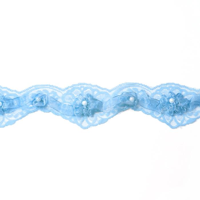 Кружево синтетическое 2169-А Голубой 4,5см 100%полиамид 9м