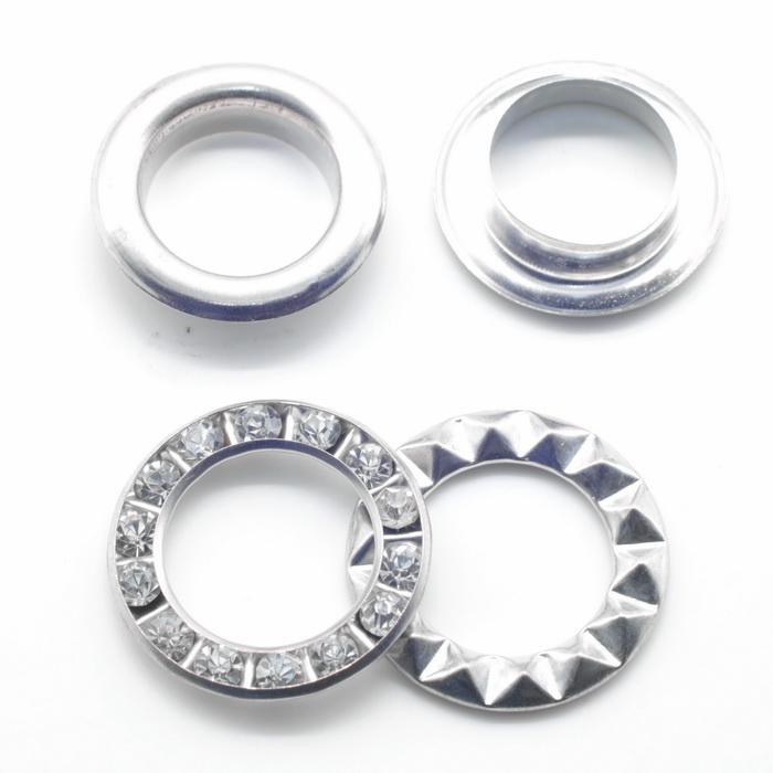Люверсы металлические №4 d5мм(4мм); №24 d12мм(4мм); №28 d15мм(4мм) Никель кристал