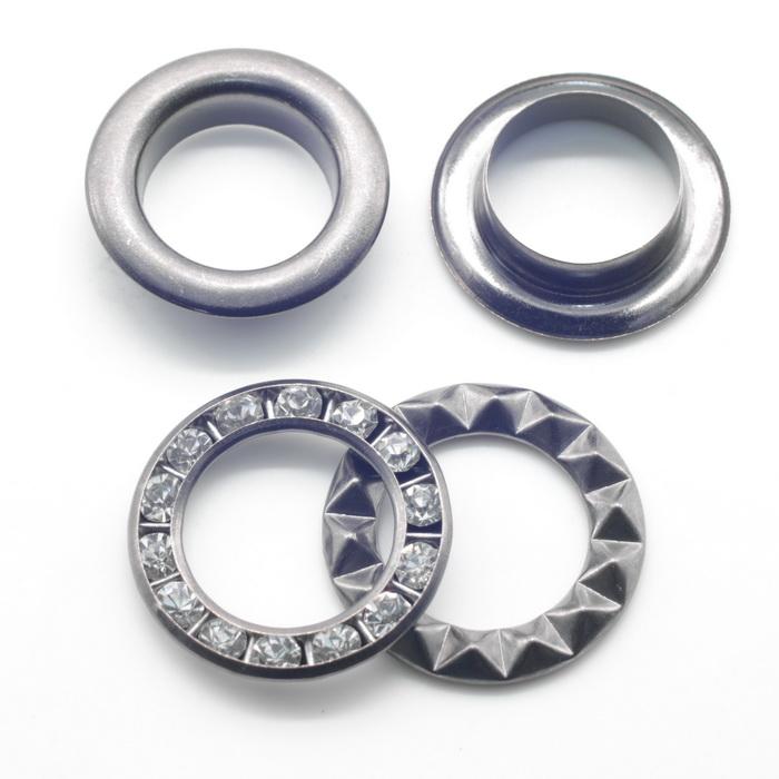 Люверсы металлические d5мм(4мм); d12мм(4мм), d15мм(4мм) Оксид кристал