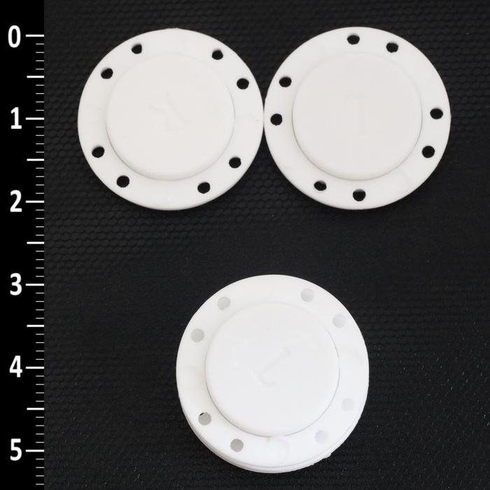 2026 Кнопка пришивная пластмассовая на магните d22мм(Белая)
