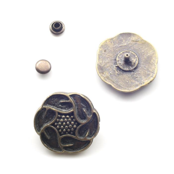 1757 Пряжка металлическая d2,5см Антик
