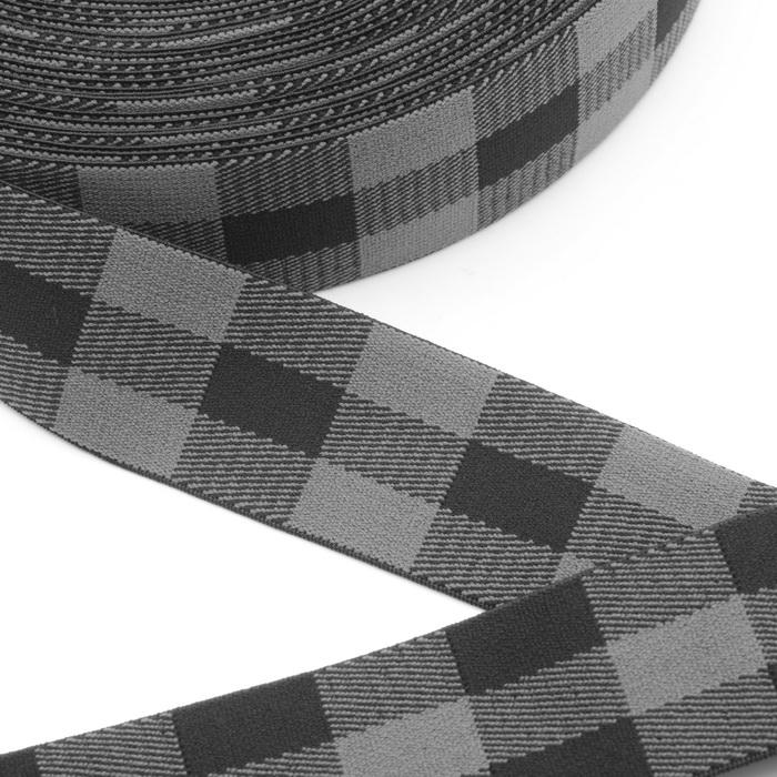 1840 Лента эластичная дек. 4см №3 Чёрно-серый (1) 2400073360014
