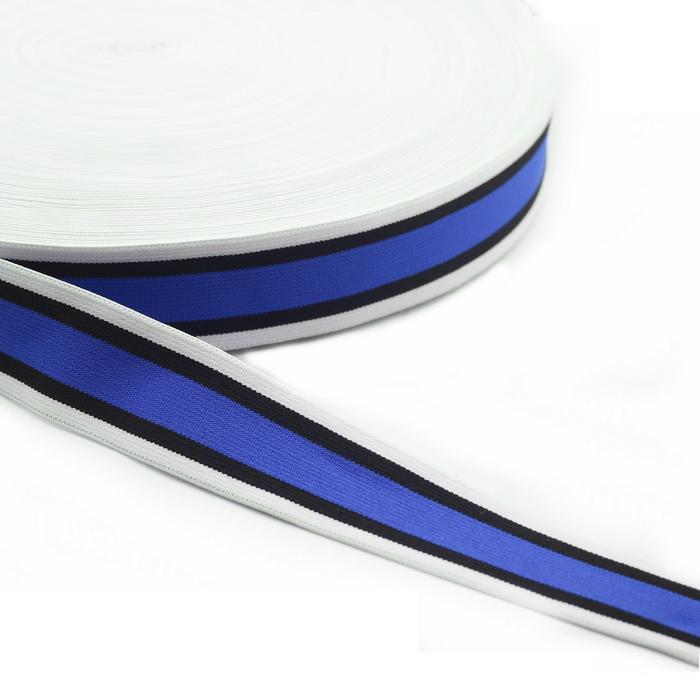 40721с.093 Лента эластичная декоративная 4см Белый+черный+синий